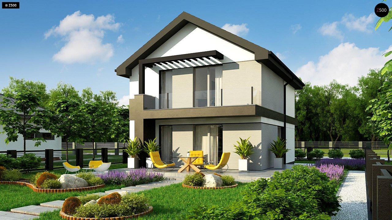 Проект современного компактного дома с мансардой z372