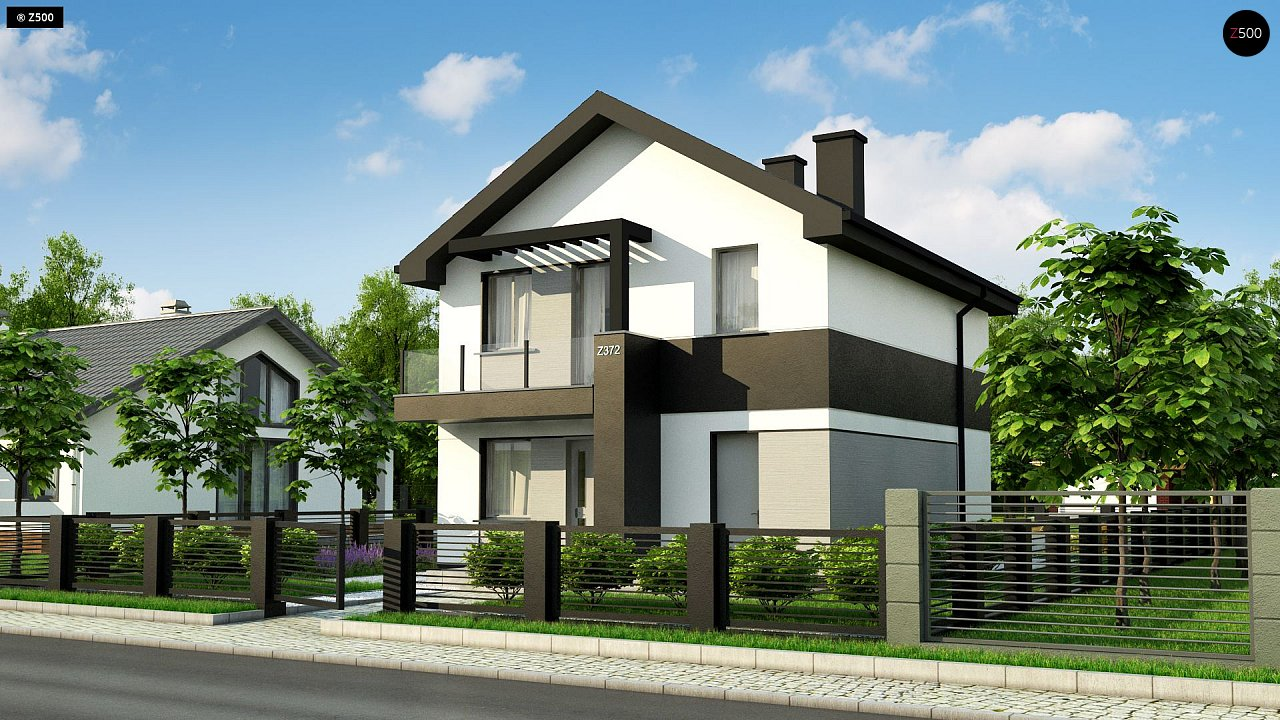 Проект современного компактного дома с балконом z372