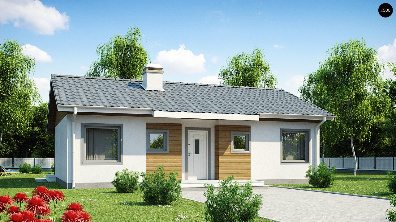 Проект компактного дома с террасой z7