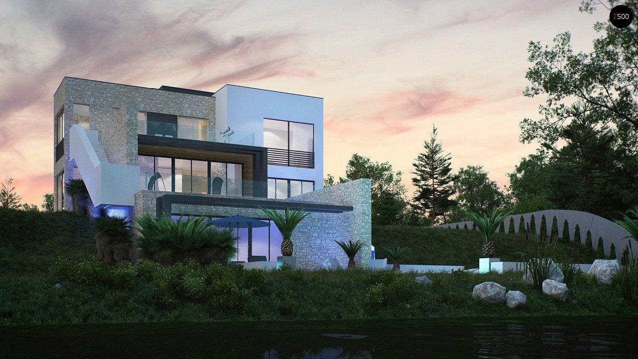 Лучший проект двухэтажного дома 284 м2 в стиле хайтек с цоколем Zr17