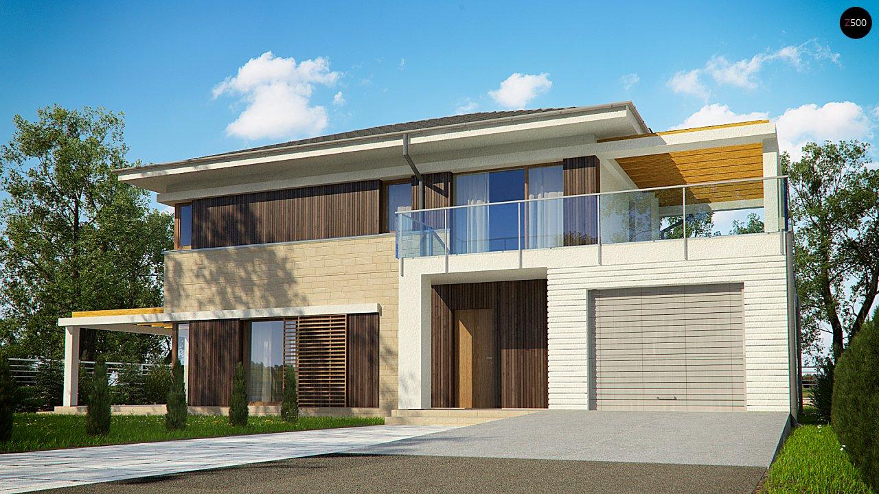 Проект современного двухэтажного дома с гаражом и крытой террасой zx63-b-b