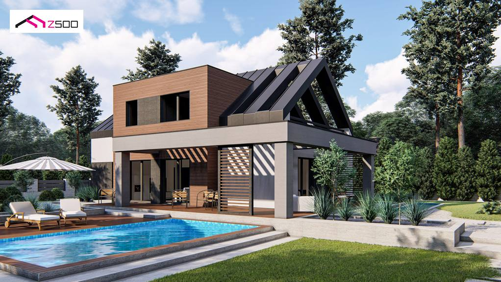 Лучший двухэтажный дом 190 м2 с мансардой и гаражом Z422