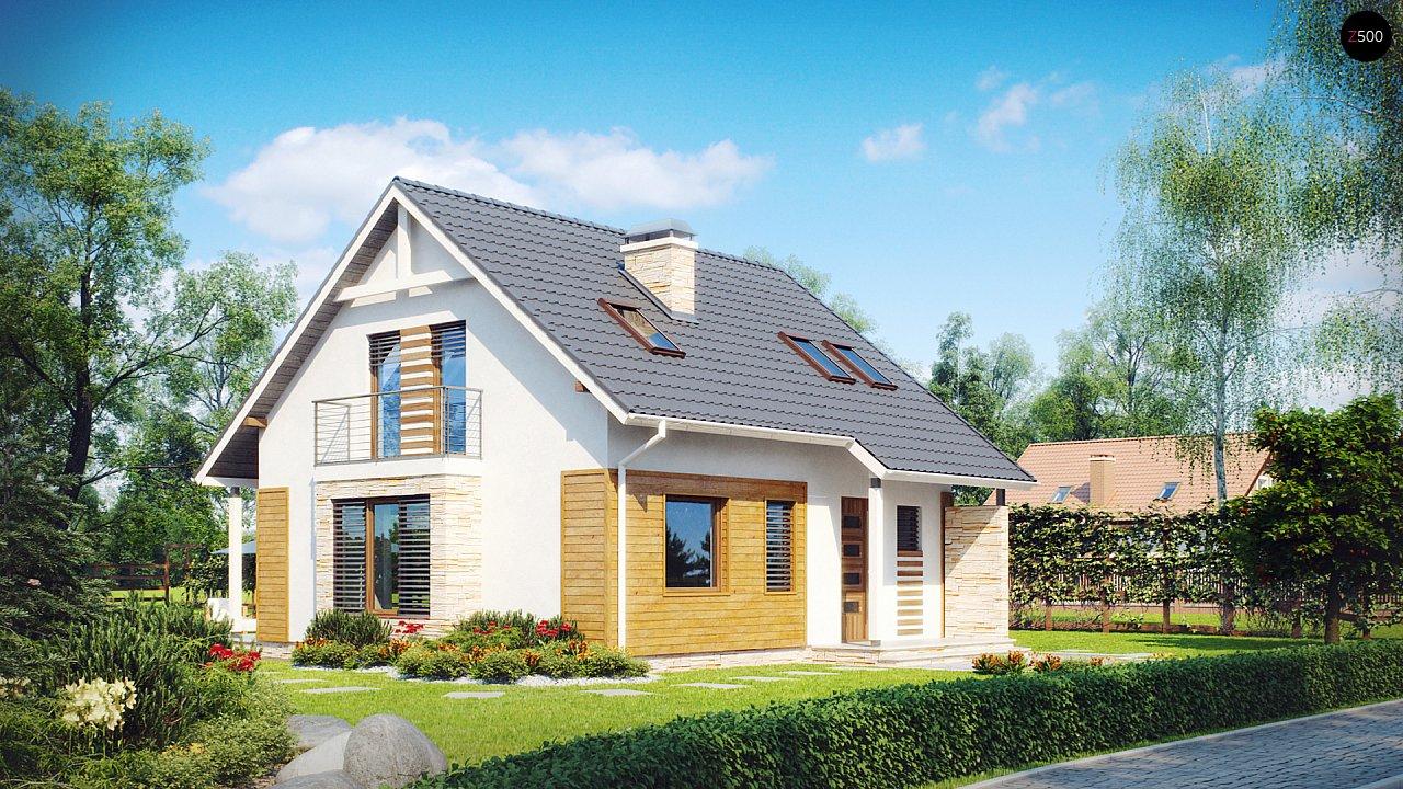 Проект классического компактного дома мансардного типа с балконом z102