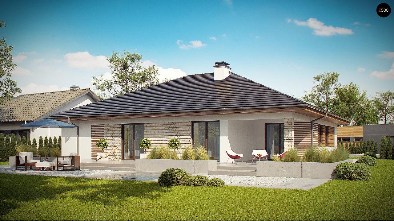 Проект одноэтажного дома с гаражом и террасой z301