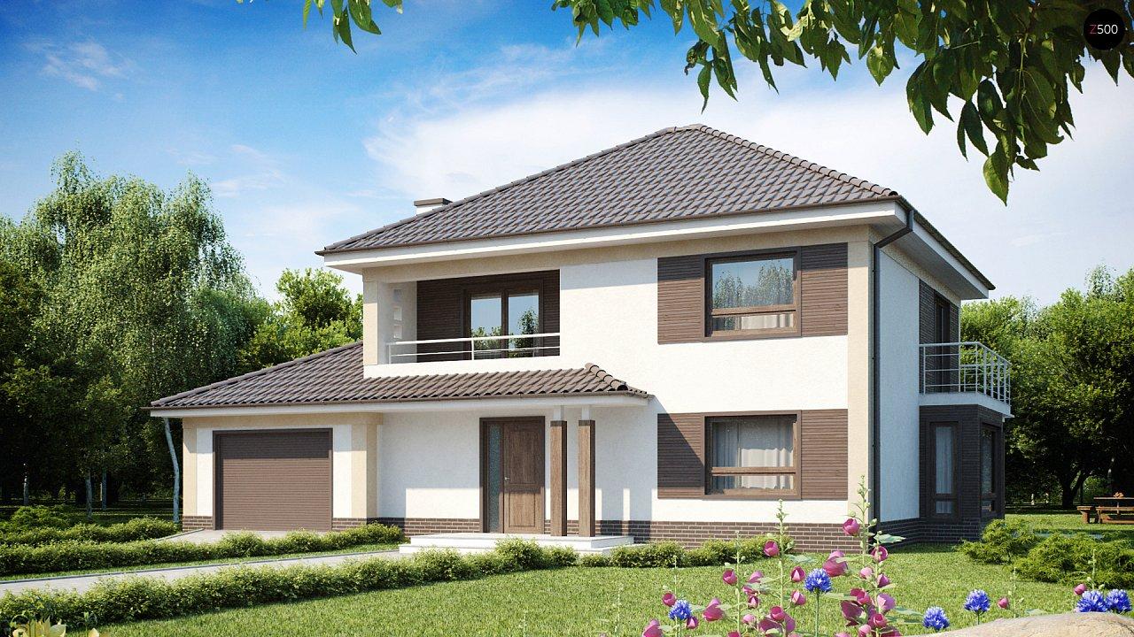 Проект классического двухэтажного дома с гаражом zx12-zx12