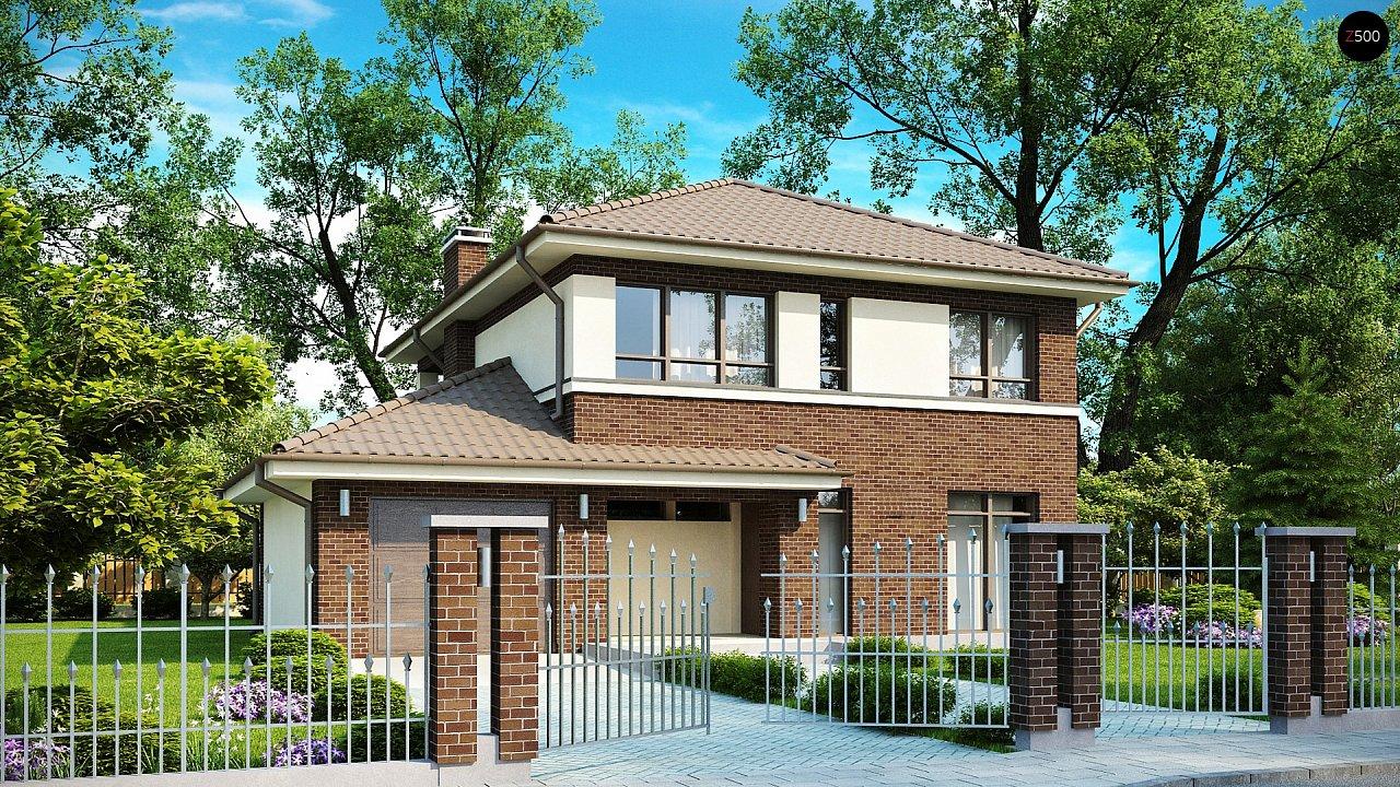 Проект дома с крытой террасой и балконом zx24-zx24