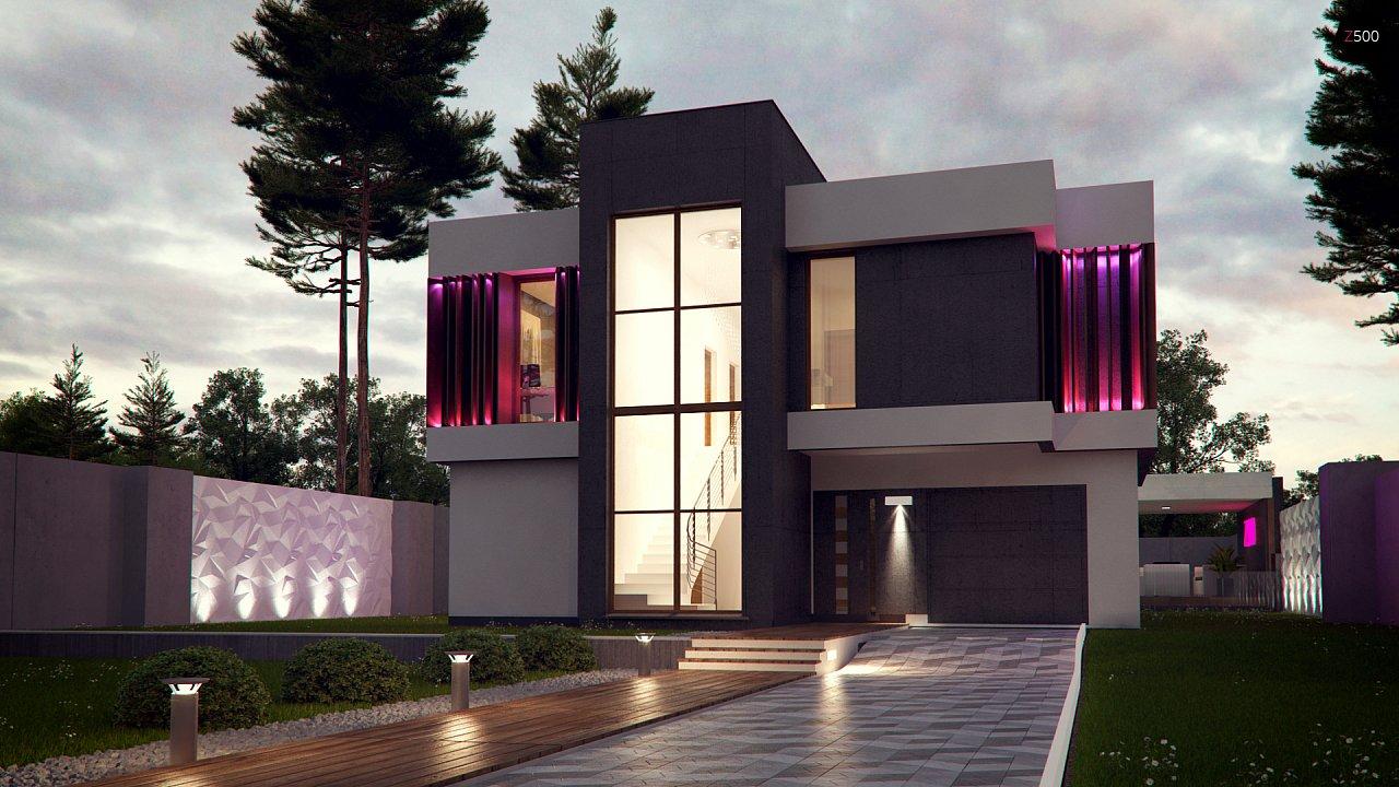 Проект современного дома с балконом zx124