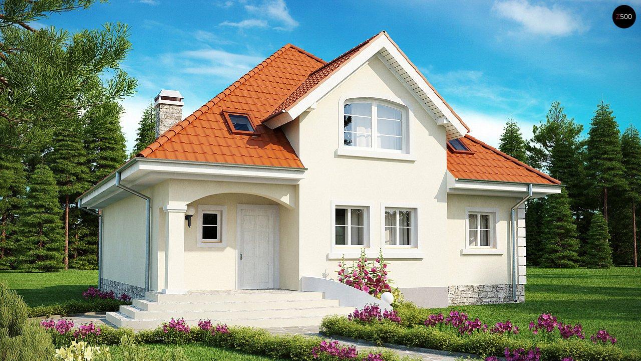 Проект классического дома мансардного типа с балконом z18