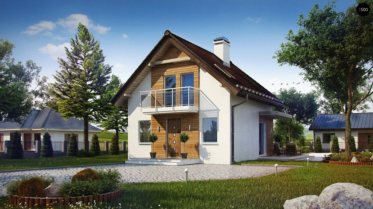 Проект компактного мансардного дома с балконом z264