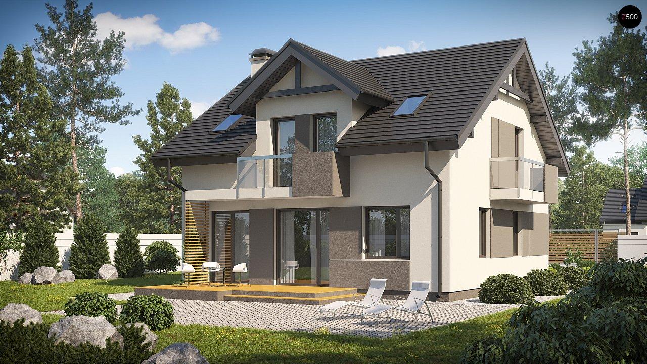 Проект современного компактного дома с мансардой и балконом z65-v2