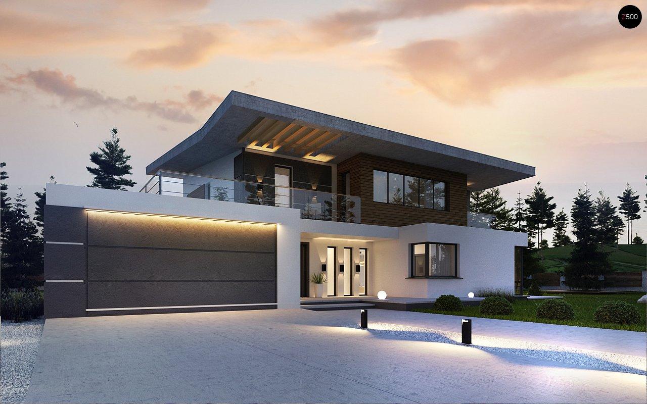 Проект современного двухэтажного дома с гаражом zx22