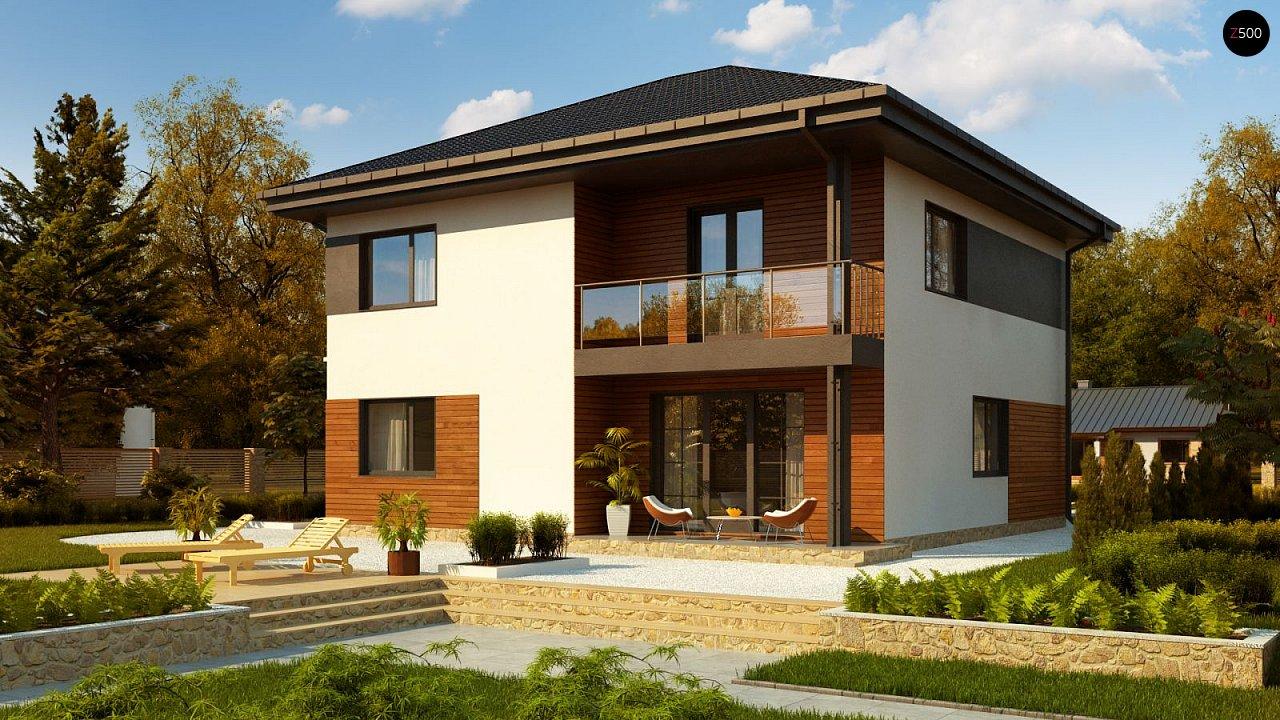 Проект современного дома с балконом zz1-zz1