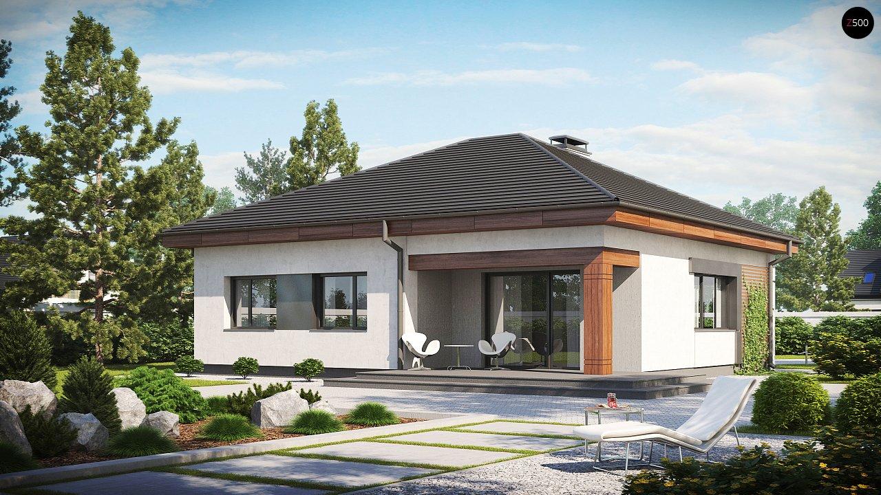Проект компактного одноэтажного дома с небольшой террасой z273