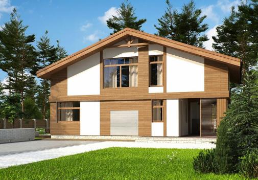 Проект дома с двускатной крышей Zp4