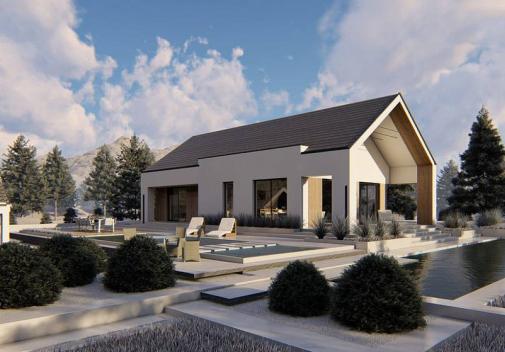 Проект дома с двускатной крышей Z465