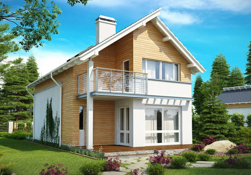 Проект дома с двускатной крышей Z137