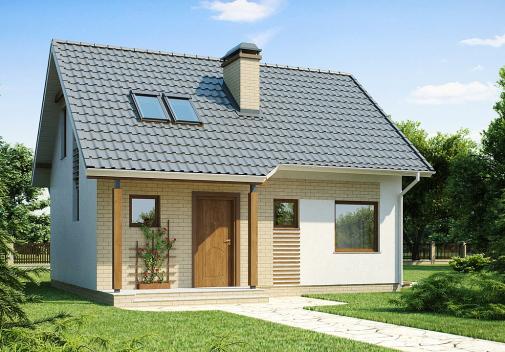 Проект дома с двускатной крышей Z71