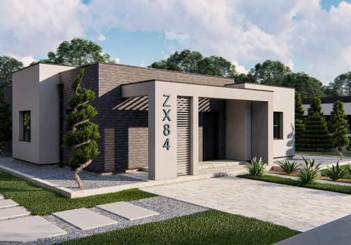 Проект дома с плоской крышей Zx84