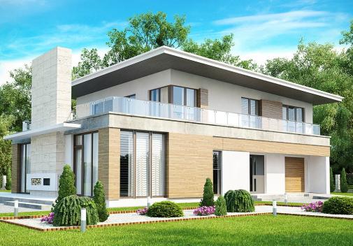 Проект дома с односкатной крышей Zx21