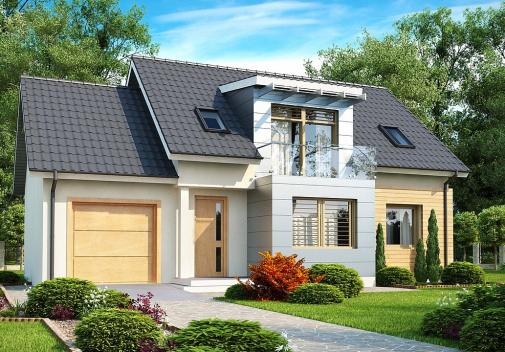 Проект дома с двускатной крышей Z126