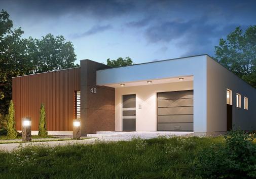 Проект дома с плоской крышей Zx49