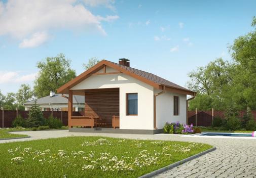 Проект дома с двускатной крышей Zp2