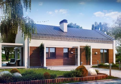 Проект дома с двускатной крышей Z258