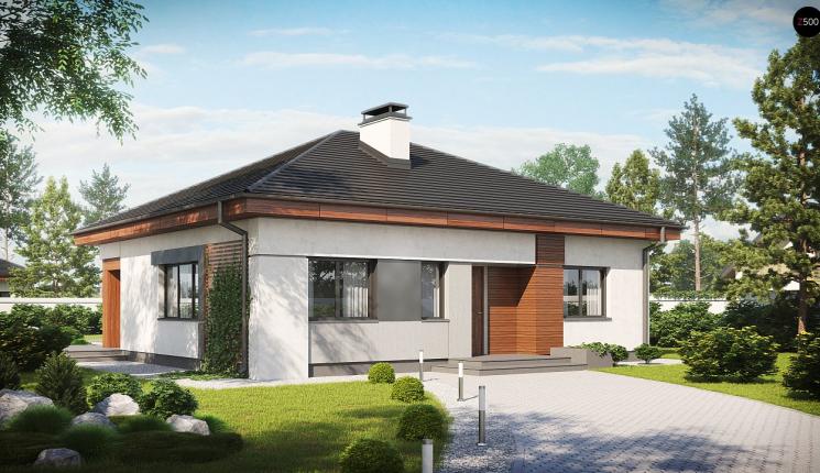 Небольшой одноэтажный дом с кирпичной облицовкой