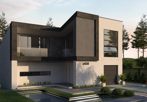 Проект дома с односкатной крышей Z450