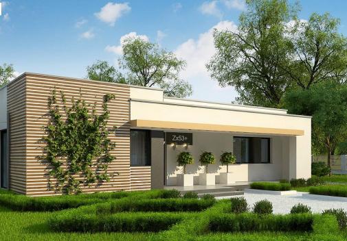 Проект дома с плоской крышей Zx53 +