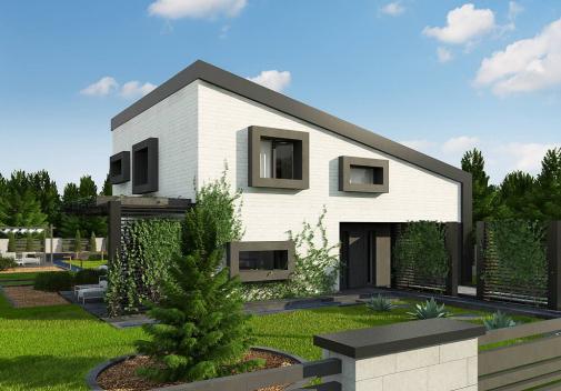 Проект дома с односкатной крышей Z391