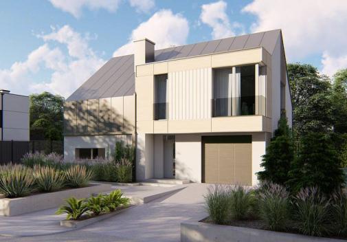Проект дома с двускатной крышей Z408