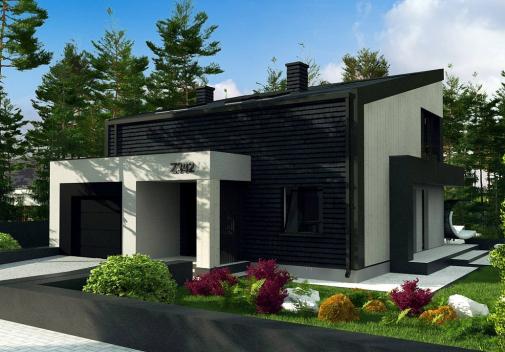Проект дома с односкатной крышей Z392