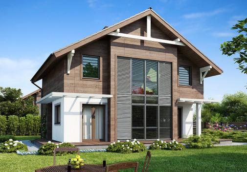 Проект дома с двускатной крышей Z47