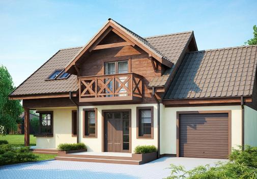 Проект дома с двускатной крышей Z33